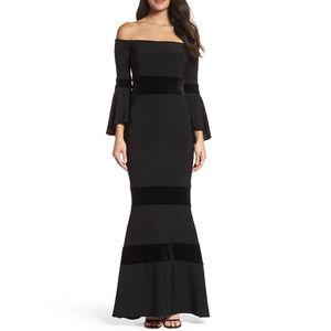 XSCAPE Black Off The Shoulder Velvet Formal Gown